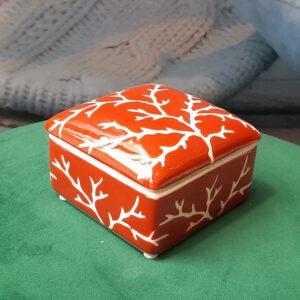 Red Coral Ceramic Box