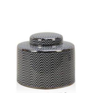 Black & White Chevron Short Jar