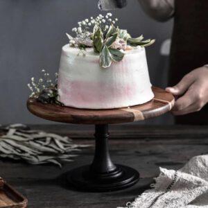 10″ Acacia Wood Cake Stand