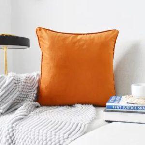 Orange Plush Velvet Cushion Cover