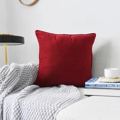 Red Plush Velvet Cushion Cover