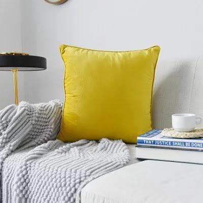 Yellow Plush Velvet Cushion Cover